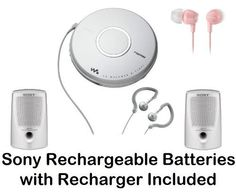Sony Walkman Portable Skip-Free CD Player & AM FM Radio with Earbud Headphones, 30 Preset Stations, Digital Mega Bass Sound, AVLS, Pale Pink In-Ear Earbud Headphones & Passive Lightweight Portable Speakers - Plus Sony Rechargeable Batteries with Recharger by Sony. $79.95. All in One CD PlayerDigital AM FM Tuner Allows you to listen to your favorite radio stations. 30 Station Preset 20FM & 10AMSkip-Free G-Protection Technology Continues to provide quick recovery from both hori...
