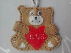 bear keyring, bear keychain, valentines day gift, gift for her, personalised gift, bear bag charm, bear with heart, felt bear, gift for mum by TheCraftingGardener on Etsy