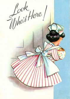 Vintage baby card - 'Look Who's here!'