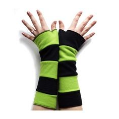 Stripey Arm Warmers - Lime Green - I so might need these for Roller Derby <3
