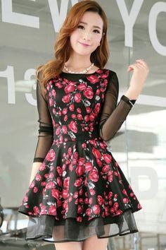 Rose V neck Dress Set - OASAP.com