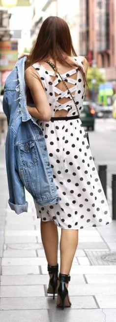 Forever 21 White Black Dot Multi Strap Back Sun Dress