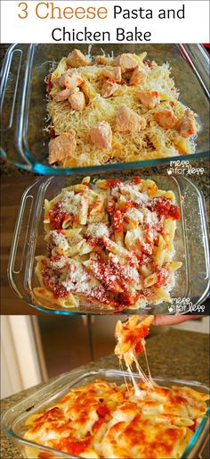 Three Cheese Pasta and Chicken Bake made with Kraft cheeses. This meal is a family favorite in our house! #sponsored