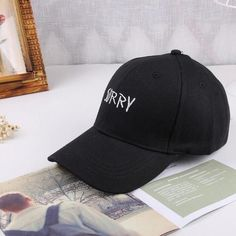 4e82c547c85 Letter SORRY MOM Embroidered Baseball Cap Low Profile Curved Bill white  black Thread for men women