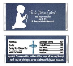 First Communion candy wrappers party favors. Kneeling shadow. Available for a boy or a girl.