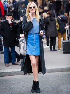 Тренд: джинсовая юбка на пуговицах 0