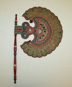 Fan Date: 1700–1941 Culture: Indian Medium: straw, metal, cotton, wood