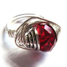 Wire Wrap Ring Red Glass Fashion Jewelry by gimmethatthing on Etsy, £9.75