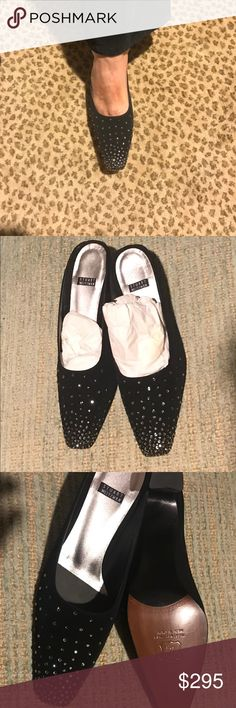Stewart Weitzman slippers w/ Swarovski crystals. NWOT Stewart Weitzman black evening slippers with Swarovski crystal embellishments.  2 inch heels. Never worn. Great for NYE & holiday celebrations! Stuart Weitzman Shoes Heels