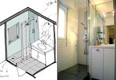 Avec une douche à l'italienne, cette petite salle de bain semble spacieuse. En effet, les parois en vert apporte de la profondeur à une pièc...