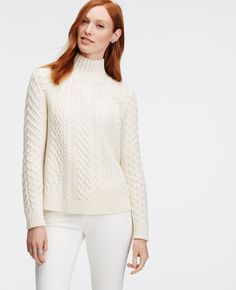 Petite Mock Neck Cable Sweater | Ann Taylor