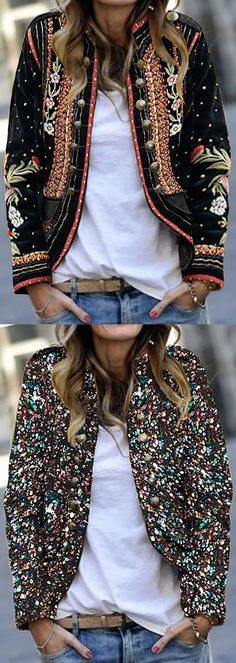 Long Sleeve Floral Embroidery Blazer Outerwear Blouses and Tops woman taking shirt off Boho Fashion, Winter Fashion, Fashion Outfits, Womens Fashion, Winter Outfits, Casual Outfits, Mode Boho, Boho Chic, Bohemian