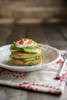 Chickpea Cakes with Shaved Asparagus and Yogurt-Spring Recipe   Naturally Ella