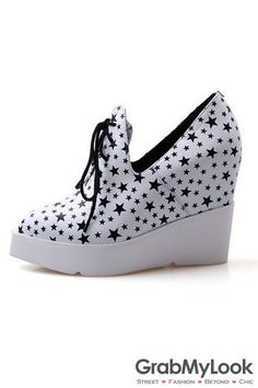af0898e76991 GrabMyLook Stars Point Head Lace Up White Platforms Wedges Sneakers Women Shoes  Wedge Sneakers