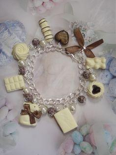 bracelet gourmand thème chocolat blanc en fimo : Bracelet par maemele