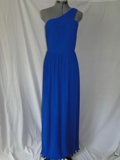Dessy Collection One shoulder Fortuny pleated column dress in nu-georgette Sz 8 | eBay