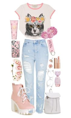 """""""Floral Cat"""" by gracefully-artistic on Polyvore featuring Gucci, Topshop, Forever 21, Aéropostale, Casetify, 1928, Various Projects, Tory Burch and Ballard Designs"""