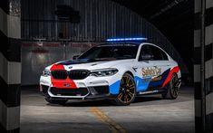 Download wallpapers 4k, BMW M5, supercars, 2018 cars, MotoGP Safety Car, german cars, BMW