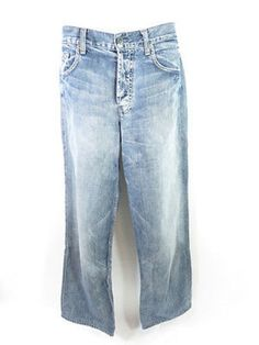SALE 7 FOR ALL MANKIND Men Blue Slouchy Distressed Wash Bombay Jeans Pants 33
