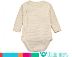 Organic Cotton Infant Baby Onesies Double Long Sleeve Colorful Stripe