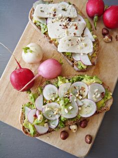 """Avocado Toast + Radishes + Hazelnut + """"Havarti"""" (vegan friendly and full of good fats!)"""