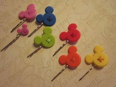 Mickey Mouse Button Hairpins. $3.00, via Etsy.