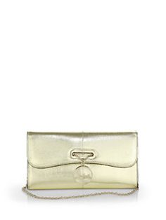Christian Louboutin - Riviera Metallic Snake-Embossed Clutch