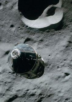 Apollo 16 Command Service Module Casper orbiting the moon