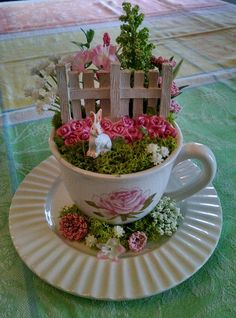 25 Perfect Diy Teacup Mini Garden Ideas To Add Bliss To Your Home. If you are looking for Diy Teacup Mini Garden Ideas To Add Bliss To Your Home, You come to the right place. Here are the Diy Teacup . Indoor Fairy Gardens, Mini Fairy Garden, Miniature Fairy Gardens, Fairy Gardening, Miniature Fairies, Organic Gardening, Fairies Garden, Gardening Tips, Big Garden