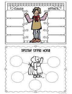 Tomie dePaola author study:  Strega Nona and Big Anthony thinking maps.  Cause and effect map is a two sided trifold.