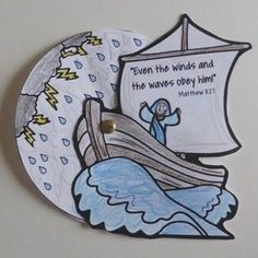 Jesus Calms the Storm Brad Wheel Sunday School Crafts For Kids, Bible School Crafts, Sunday School Activities, Sunday School Lessons, Preschool Bible Lessons, Bible Activities For Kids, Bible Crafts For Kids, Preschool Crafts, Jesus Crafts