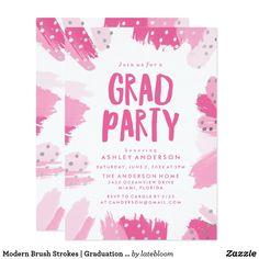 Modern Brush Strokes   Graduation Party Invitation