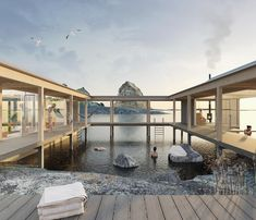 Water Architecture, Casa Patio, Visual Effects, City Art, Atrium, Cottage, Exterior, Island, Mansions