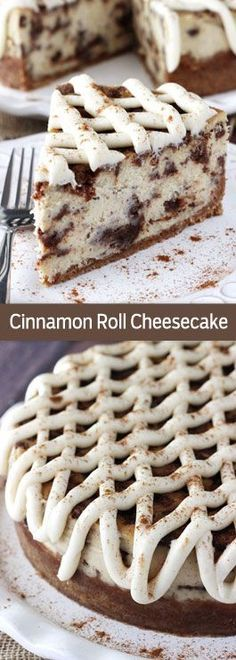 Roll Cheesecake - thick and creamy cheesecake with delicious cinnamon roll filling throughout!Cinnamon Roll Cheesecake - thick and creamy cheesecake with delicious cinnamon roll filling throughout! Cinnamon Roll Cheesecake, Best Cheesecake, Cheesecake Recipes, Dessert Recipes, Homemade Cheesecake, Fluffy Cheesecake, Mini Desserts, Just Desserts, Delicious Desserts