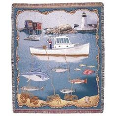 New England Fishing Lighthouse Tapestry Throw Blanket