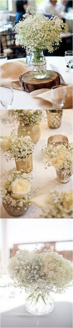 chic rustic baby's breath wedding centerpiece ideas