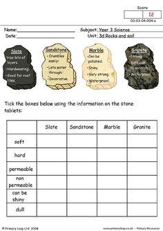 PrimaryLeap.co.uk - Types of stone Worksheet