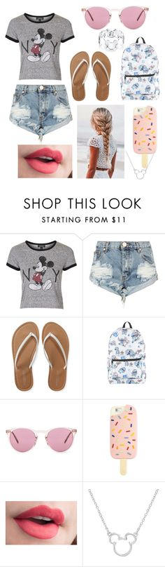 """""""〰summer BBQ"""" by picking-petals ❤ liked on Polyvore featuring Topshop, One Teaspoon, Aéropostale, Disney, Oliver Peoples and Tory Burch"""