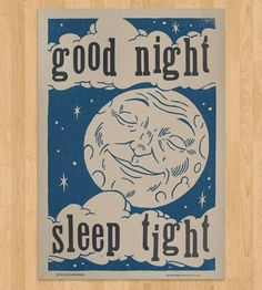Good Night Letterpress Print by Roll & Tumble on Scoutmob Shoppe -- hand-printed letterpress print began from an original illustration, hand-carved into a wood block by yours truly, and then paired with 100-year-old wood type. These were printed one a time on recycled heavy cream #80 French paper with dreamy evening colors of dusky blue and warm gray. Each print is hand-cranked one at a time on the trusty Vandercook.