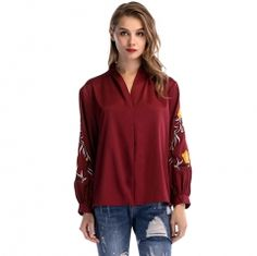 2d2acc1f73b Embroidered Long Sleeve V-neck Loose Casual Tops Plus Size Blouse