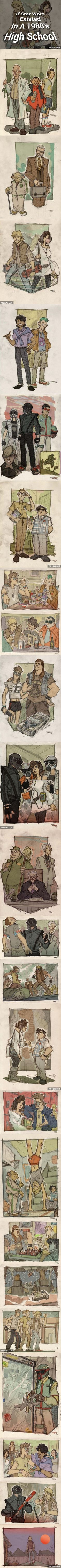 If Star Wars Existed In A 1980′s High School. I know I've pinned this before but what great costume inspiration!