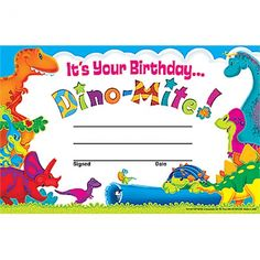 Dino-Mite Pals™ Birthday Recognition Awards. Reward your students for their special achievements!