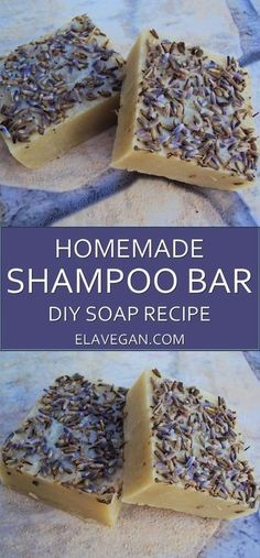 Homemade shampoo bar with lavender and clay. This soap will clean your hair without harmful chemicals.Try out this DIY shampoo bar recipe for healthy hair Diy Shampoo, Homemade Shampoo And Conditioner, Lush Shampoo Bar, Solid Shampoo, Diy Lush, Rides Front, Homemade Cosmetics, Homemade Soap Recipes, Recipes