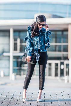 Jeansjacke mit Schleifen von Glamorous UK, Skinny Jeans und hellblauen Pumps von Zara   OOTD   Outfit   https://juliesdresscode.de
