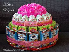 Gallery.ru / Фото #49 - 2015 - mari-ko Birthday Cake For Cat, Birthday Candy, Cars Birthday Parties, Candy Arrangements, Candy Display, Edible Crafts, Diy Gift Baskets, Candy Cakes, Gift Cake