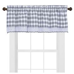Buffalo Check - Charming allover check pattern valance enhanced with macramé border trim with matching tiers and panels. (All sold separately). Rod pockets, easy care, 60% Polyester-40% Cotton, fashionable, economically price.