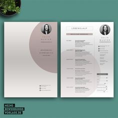 Application template with cover letter, curriculum vitae, letter of motivation. Design Portfolio Layout, Portfolio Resume, Graphic Design Resume, Resume Design Template, Cv Unique, Interior Design Cv, Cv Curriculum, Cv Inspiration, It Cv