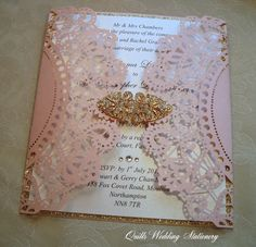 Blush and Gold Luxury Wedding Invitation. by QuillsWeddingFavours www.quillsweddingstationery.co.uk https://www.facebook.com/pages/Quills-Wedding-Stationery/278003989009997