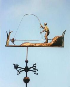 Fly Fishing Weather Vane by West Coast Weather Vanes.  This unique, handcrafted Fly Fishing Fisherman, is constructed of copper with gold leaf accents on the fisherman's hat, vest and hands.