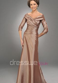 Glorious Half Sleeves V-neck Taffeta Chocolate Long A-line Formal Bridesmaid Dress